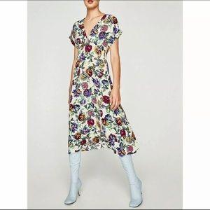 Zara Trafaluc Floral Dress Med